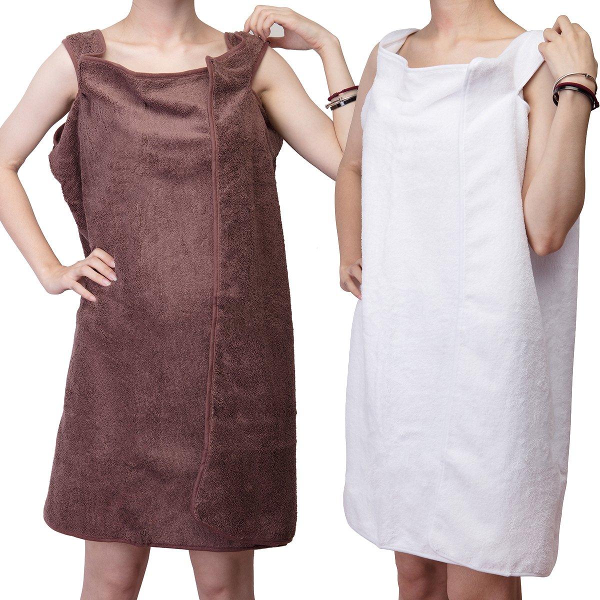 DODOING 2 Pack Microfiber Fabric Women Bath Towel Wearable Beach Towel Soft Spa BathRobe Beach Wrap Skirt Super Absorbent Bath Gown 150x80cm