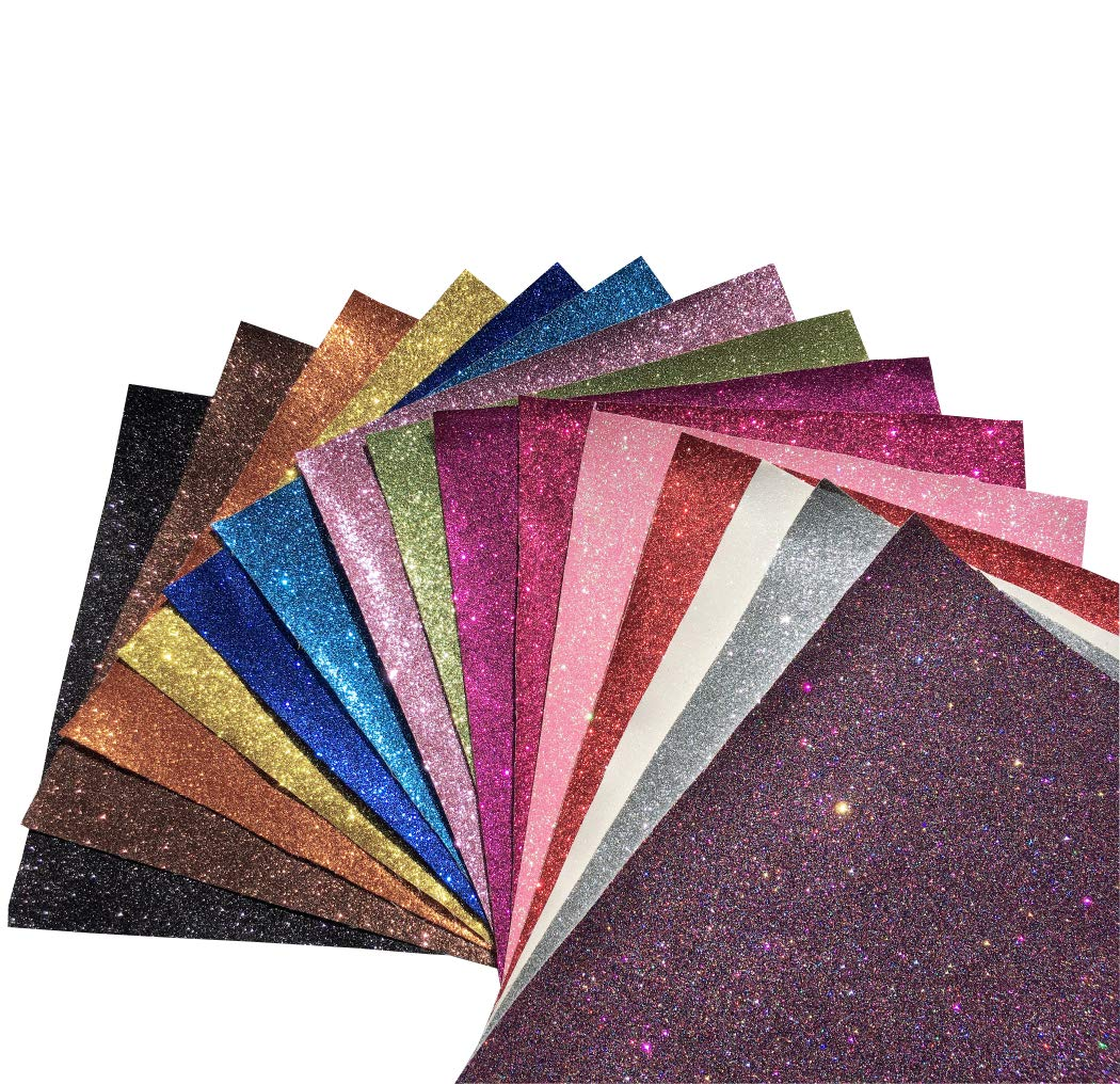 Superfine Glitter Faux Leather Sheets Leather Fabric 15 Pieces A4 Size for Bows Earrings Hair Accessories Bag Making DIY Crafts (15 Color Mixed)