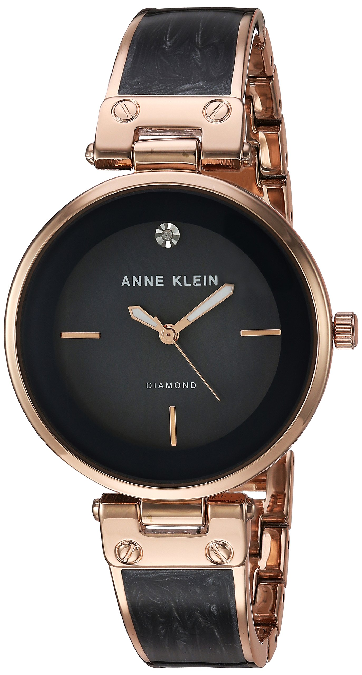 Anne klein women 39 s ak 2512gyrg diamond accented rose gold tone and grey marbleiz 696567250134 ebay for Anne klein rose gold watch set