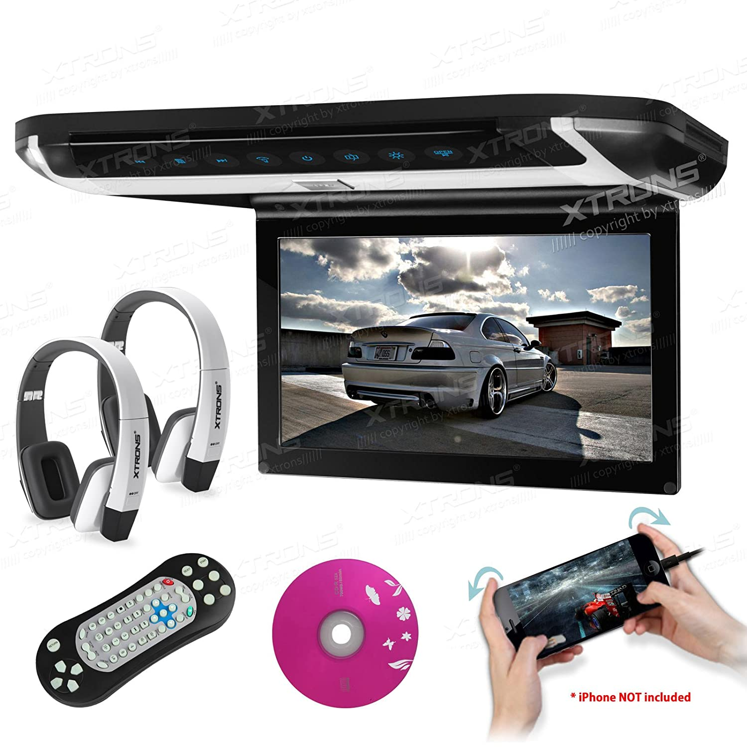Xtrons 10 Hd Digital Tft Monitor Car Roof Flip Down Hippo Multi Adaptor Aero 3 Ports Usb Simple Pack Overhead Dvd Player Touch Panel Game Disc Hdmi Port White Ir Headphones Included