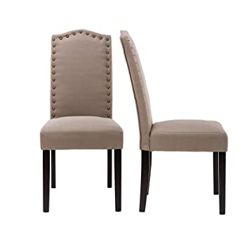 LSSBOUGHT Set Of 2 Luxurious Fabric Dining Chairs With Copper Nails And  Solid Wood Legs (
