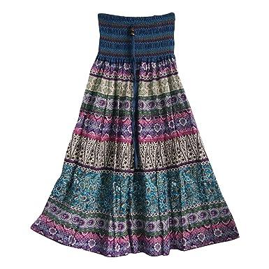 Aubig Womens Girls Summer Boho Beach Wear Long Maxi Skirts Retro ...