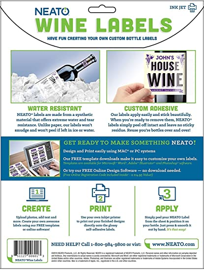amazoncom neato blank wine bottle labels 40 pack vinyl water resistant for ink jet printers kitchen dining
