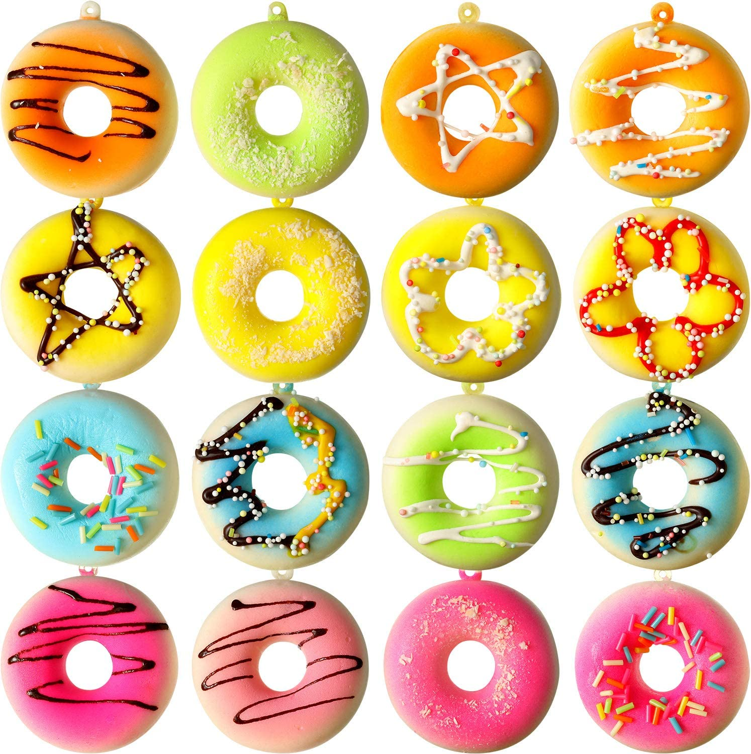 16 Pieces Fake Donuts Simulation Donuts Artificial Doughnuts Dessert Cake Party Favors Decoration Faux Donuts Food Props in Various Styles, 2 Inch