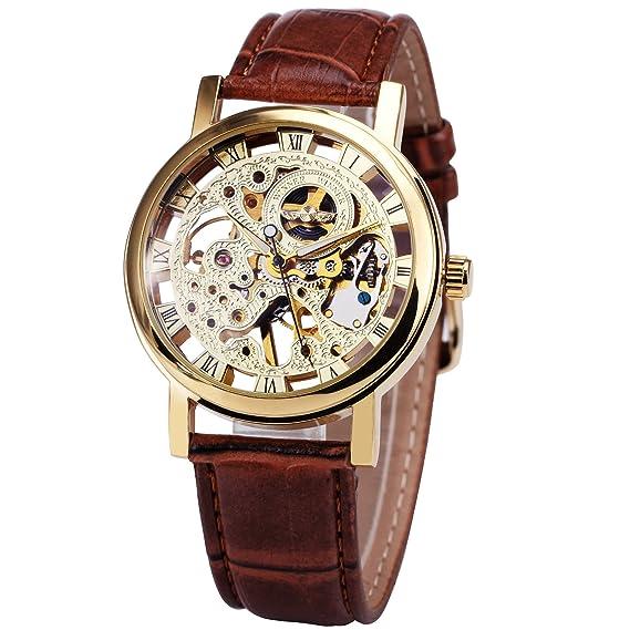 Relojes unisex con mecánica en oro, moderno, para hombre de Caluxe, esqueleto de la esfera con manillas luminosas: Amazon.es: Relojes