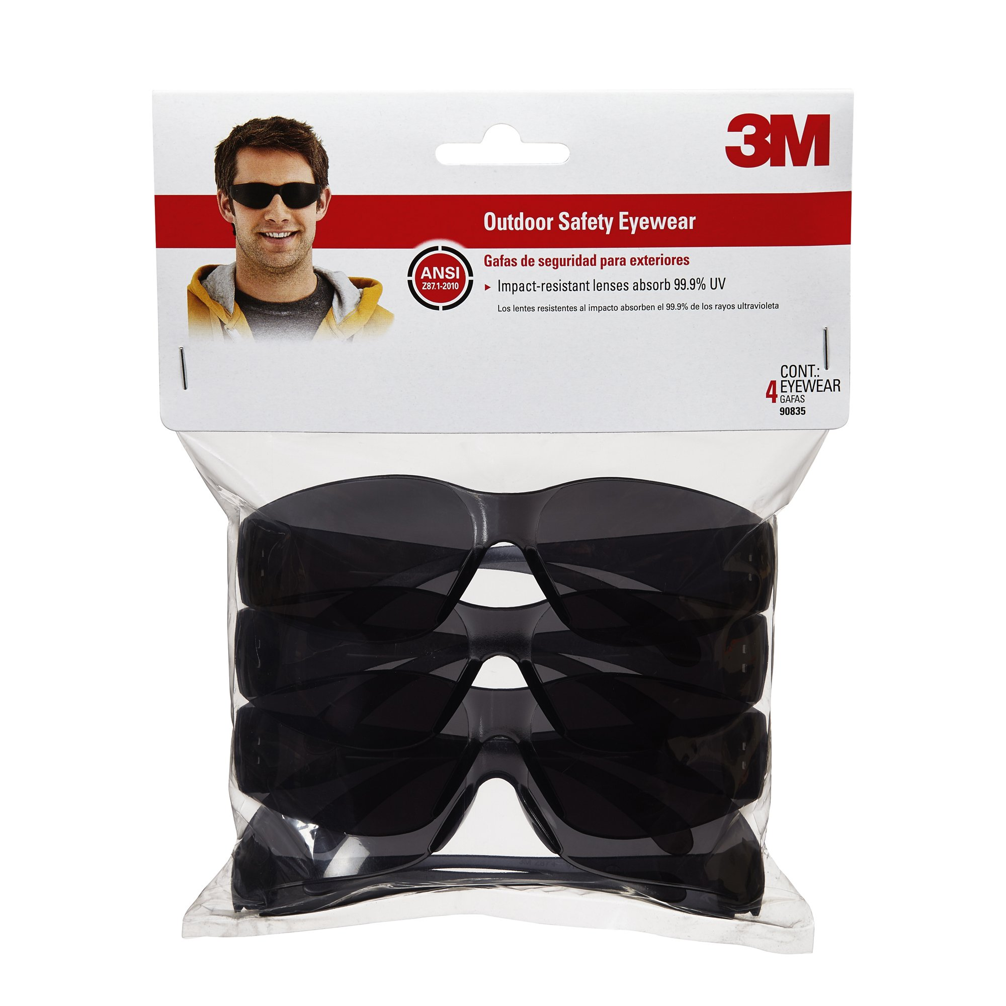 3M 90835 Outdoor Safety Eyewear, Black Frame, Gray Scratch Resistant Lenses (4 Pack) by 3M (Image #1)