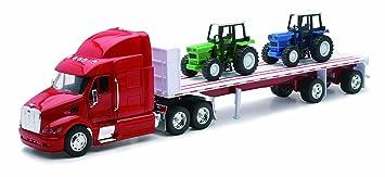 """New Ray 10283A Peterbilt 387"""" - Camión con 2 tractores de granja"""