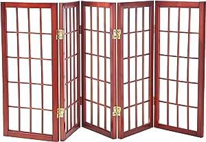 Oriental Furniture 2 ft. Tall Desktop Window Pane Shoji Screen - Walnut - 5 Panels