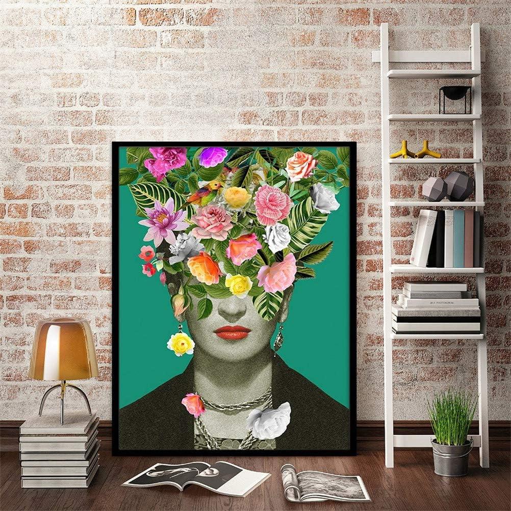 Affiche Frida Kahlo Avec D/éfinition De Lart En Espagnol Moderne Foug/ère Fleur Fum/ée Vintage Aquarelle Portrait Toile Impression Photo Art Mural Sans Cadre,Flowers,50x70cm