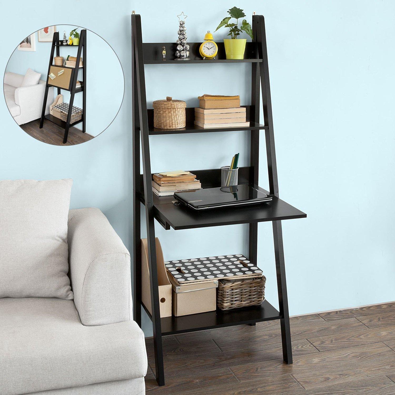 Haotian Modern Ladder Bookcase Made of Wood, Book Shelf,Stand Shelf, Wall Shelf (FRG115-SCH) COMIN18JU048838