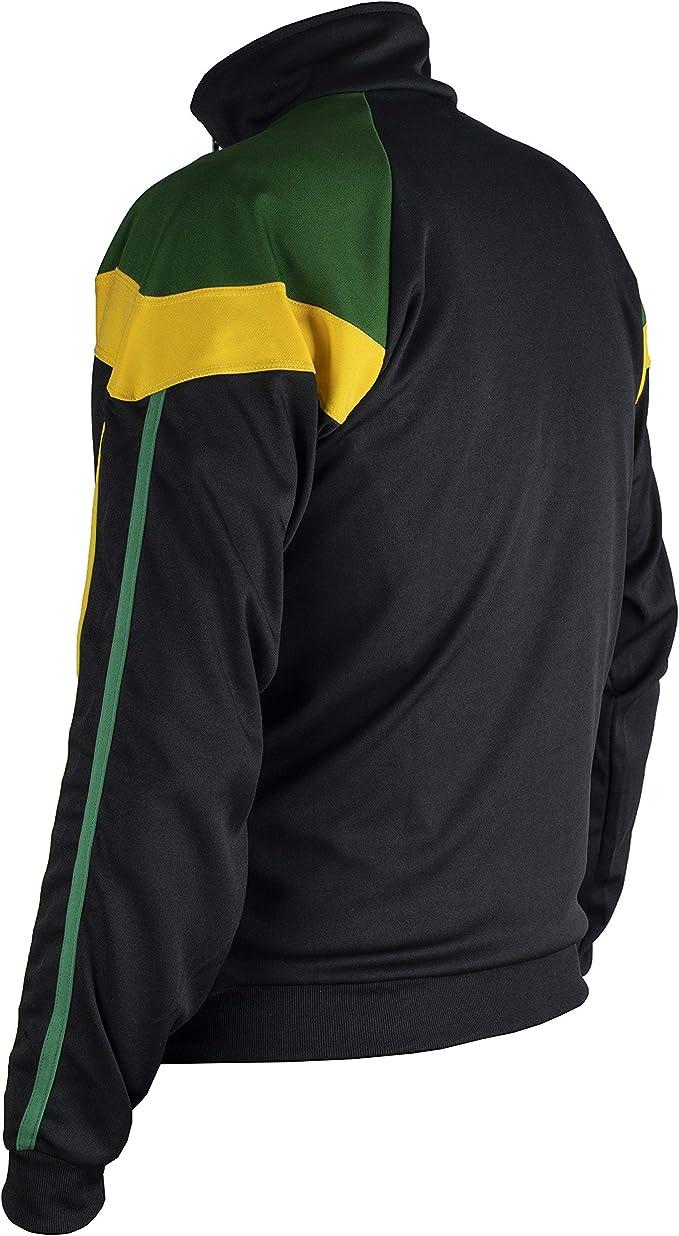 - 9-10 JL Sport Authentic Jamaican Lang/ärmlig Schwarz, Gr/ün und Gelb Boy Zip Up Jacke