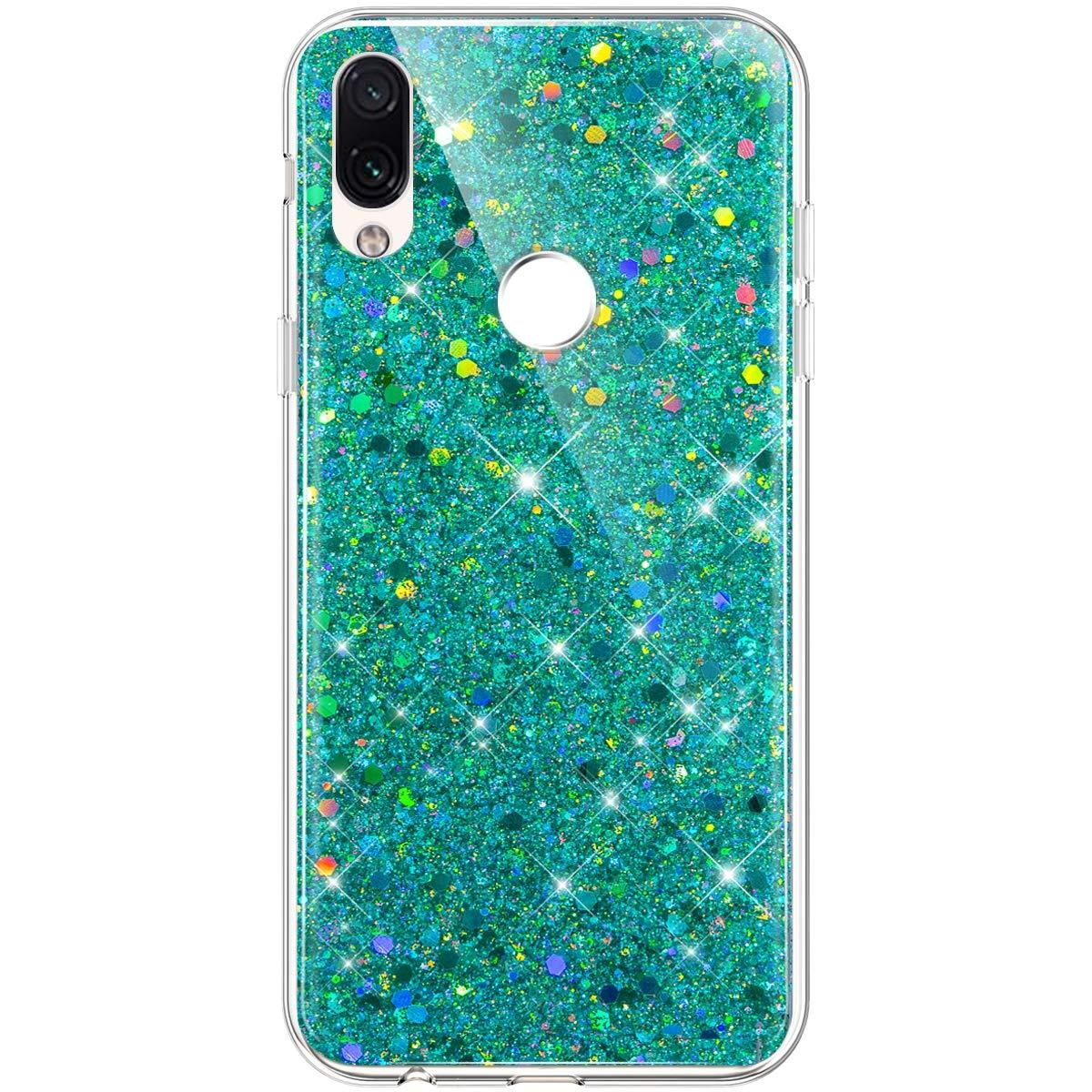 Coque Silicone avec Paillette Glitter Bumper Housse Etui de Protection Anti Choc Ultra Slim Premium TPU Coque pour pour Xiaomi Redmi Note 7-Bleu SainCat Coque pour Xiaomi Redmi Note 7