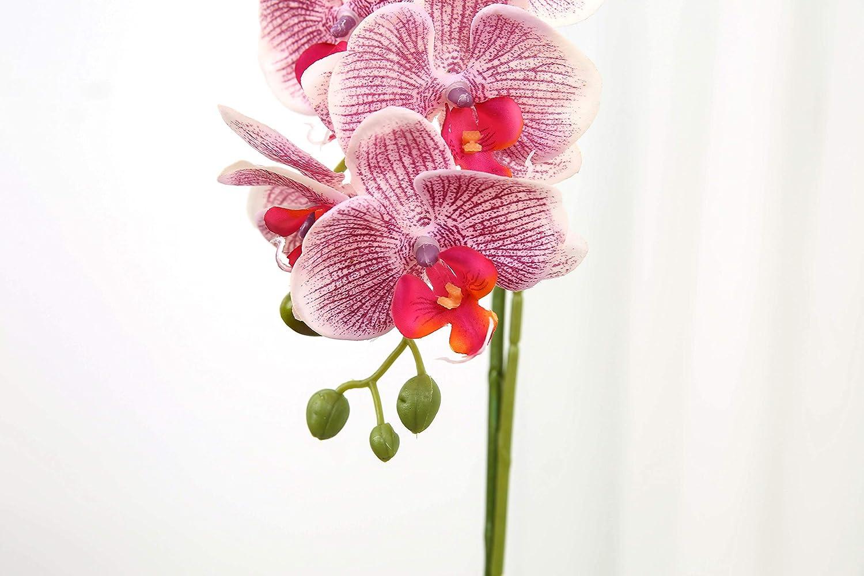 Jtmall Silk Orchid Arrangement With Vase Decorative Artificial Flowers Home Decor Table Centerpiece Rose Red Flower Head