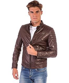 fcdae291583d D Arienzo - U411 Biker • Couleur Marron foncée • Blouson Cuir Homme Style  Motard