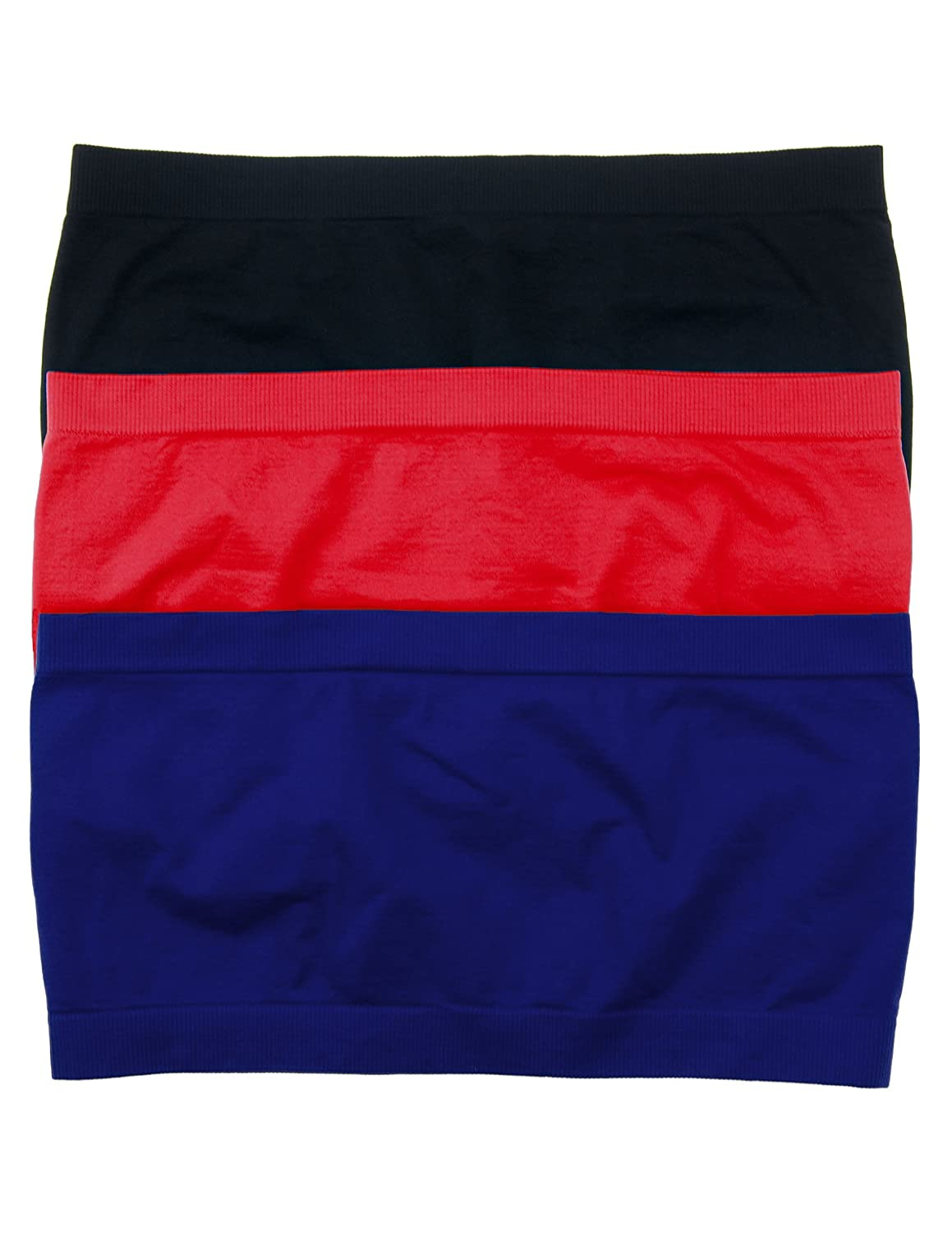 3 Pack Seamless Bandeau Top Nylon Spandex One Size,Black/Navy/Red