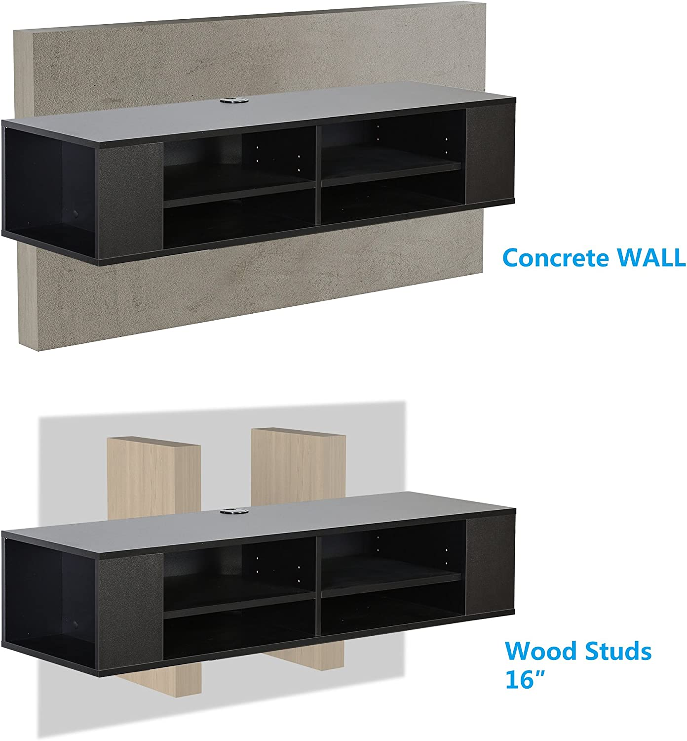 FITUEYES Wall Mounted Media Console,Floating TV Stand Component Shelf,Black,FDS212002WB