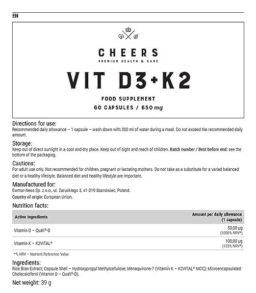 Vitamina D3 por Cheers - D3K2 - Tecnología Actilease para una rápida absorción de nutrientes y K2VITAL - Sin rellenos ni productos químicos - 60 Cápsulas ...