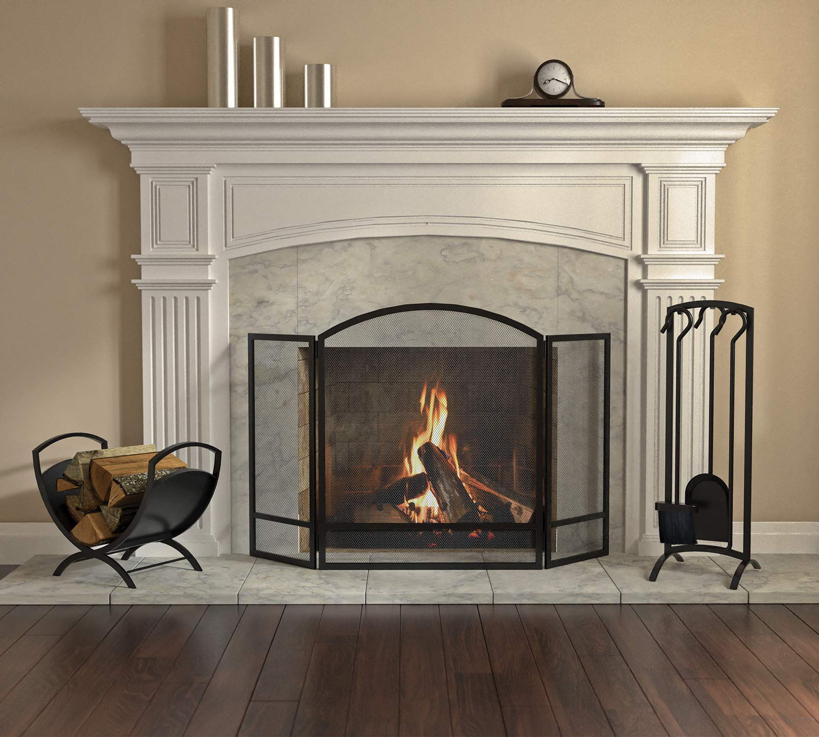 Panacea Products Not 15951 3-Panel Arch Screen with Double Bar for Fireplace, Multi by Panacea Products