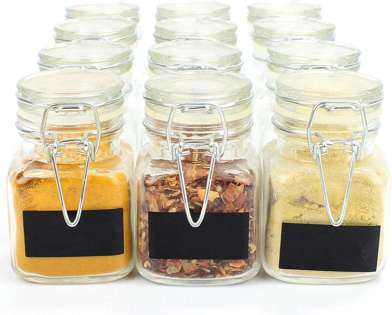 Maison & White Frascos de vidrio con tapa de clip | 12 Contenedores decorativos | Con etiquetas negras gratis y pluma de tiza blanca