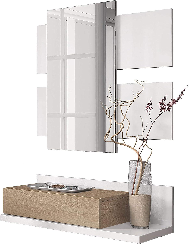 Habitdesign 0F6742A - Recibidor con cajón y Espejo, Mueble de Entrada Modelo Tekkan Acabado en Roble Canadian - Blanco Artik, Medidas: 75 cm (Ancho) x 116 cm (Alto) x 29 cm (Fondo)