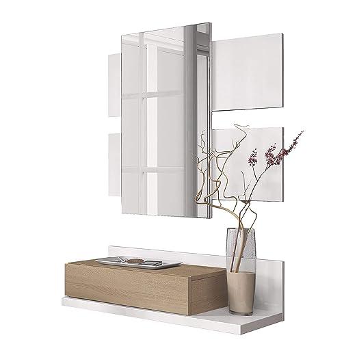Habitdesign 0F6742A - Recibidor con cajón y Espejo, Mueble de Entrada Modelo Tekkan Acabado en Roble Canadian - Blanco Artik, Medidas: 75 cm (Ancho) x ...