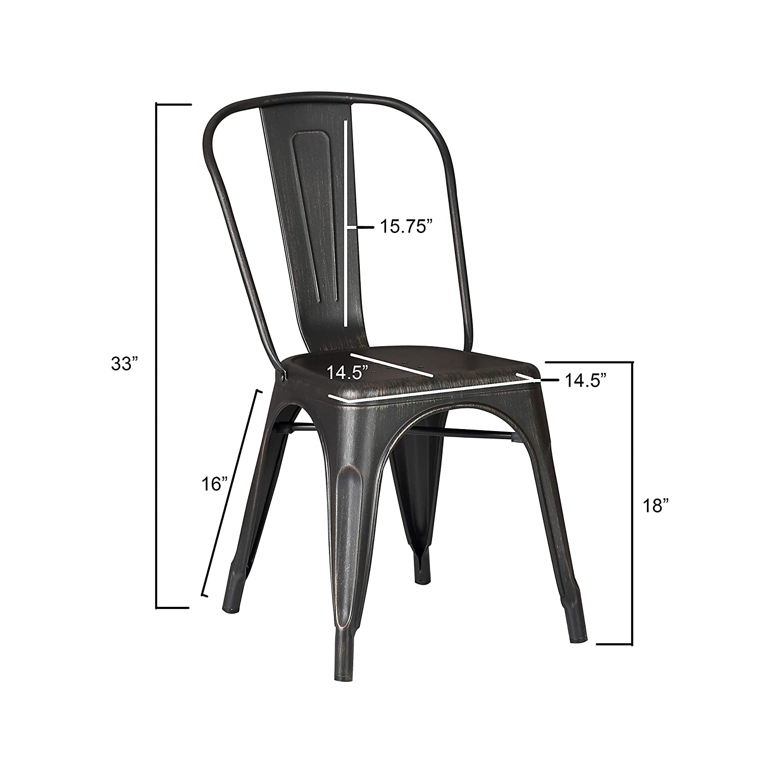 Amazon com ac pacific cole collection modern style metal dining room kitchen bar chairs set of 2 distressed black kitchen dining