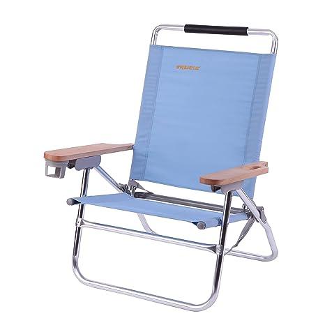 WEJOY Cómoda silla de playa reclinable ajustable y plegable, liviana y resistente para acampar en el hogar, playa, festivales y más (63 x 69 x 94cm / ...