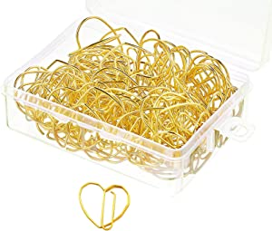 3cm Small Metal Paperclips Electroplated Office School Supplies Special Strong Love Heart Shape (Gold,50 Pcs)