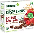Sprout Organic Baby Food, Stage 4 Toddler Fruit Snacks, Red Fruit Beet & Berry Crispy Chews, 0.63 Oz Single Serve Packs (20 Count)