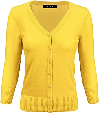 M TONSEE Womens Long Sleeve V-Neck Pullover Jumper Cardigan Loose Sweaters Coat Jacket