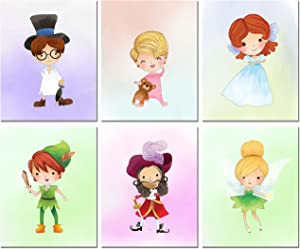 Peter Pan Kids Prints - Set of 6 Original Art Decor (8 inches x 10 inches) Photos