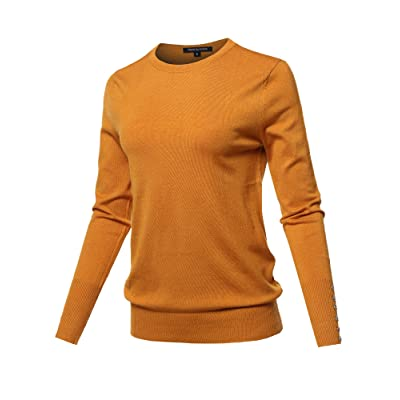 Women's Casual Premium Quality with Gold Button V-Neck Viscose Sweater Top at Amazon Women's Clothing store