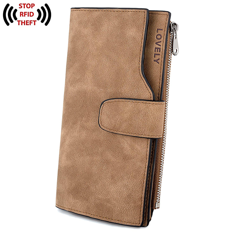 UTO RFID Wallet PU Matte Leather Card Zipper Phone Holder Coin Purse L Brown