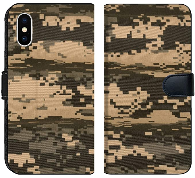 0b7c30250fd Liili Premium iPhone X Flip Micro Fabric Wallet Case Army Universal  Military camuoflage Fabric Background Digital