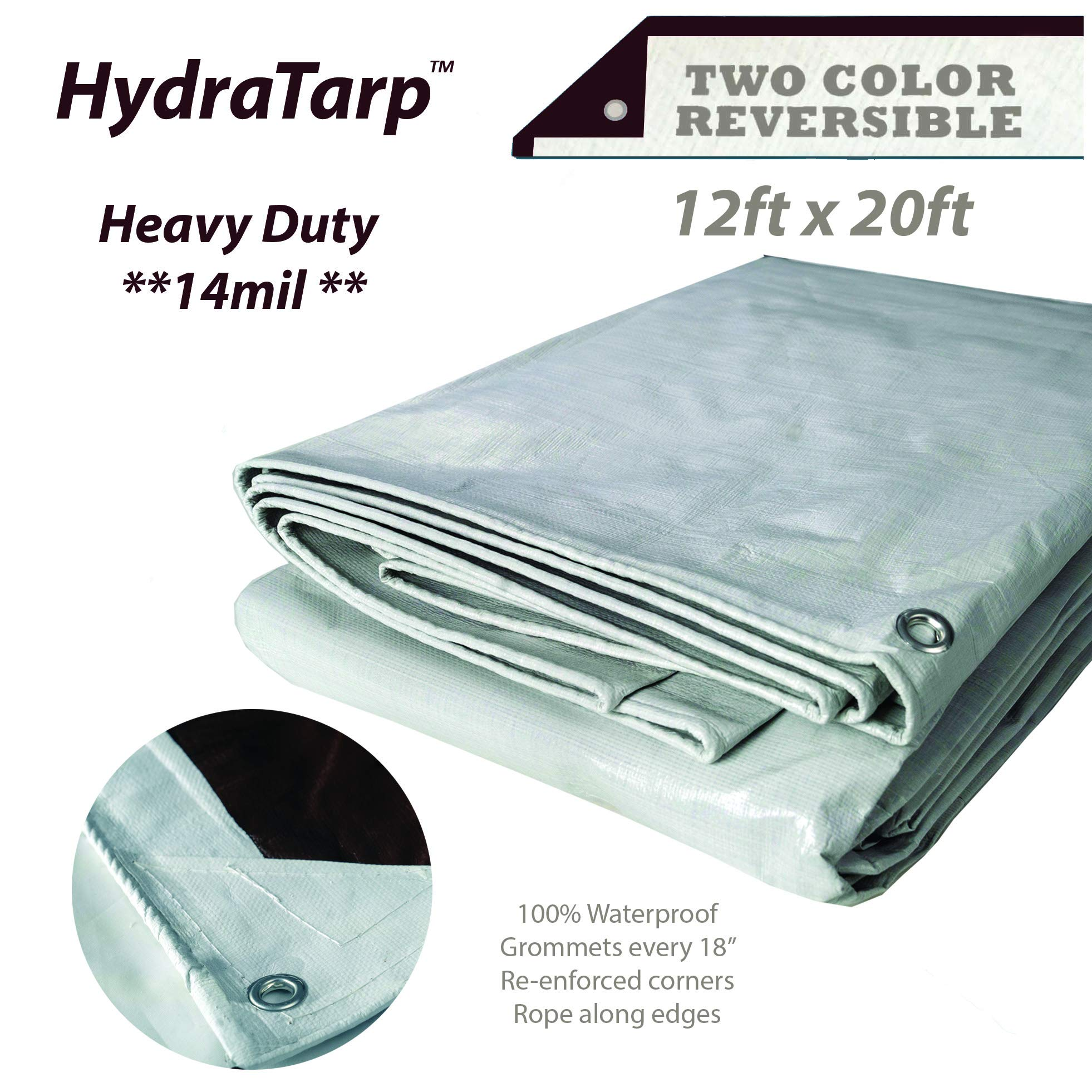 Watershed Innovations HydraTarp 12ft X 20ft Heavy Duty Waterproof Tarp - 14mil Thick - White/Brown Reversible Tarp by Watershed Innovations