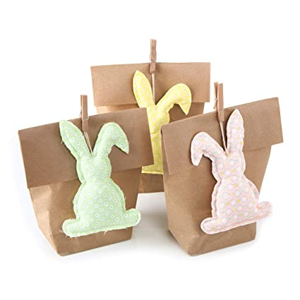 97218b1f6 3 colgantes de conejos de Pascua + bolsa de regalo pequeña verde amarillo  rosa paquete de