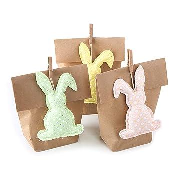 3 colgantes de conejos de Pascua + bolsa de regalo pequeña ...