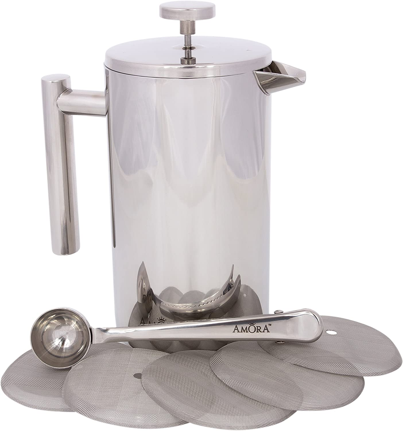 Amora 8-cup Stainless Steel French Press Coffee Maker – FREE Coffee Spoon 5 Mesh Filters