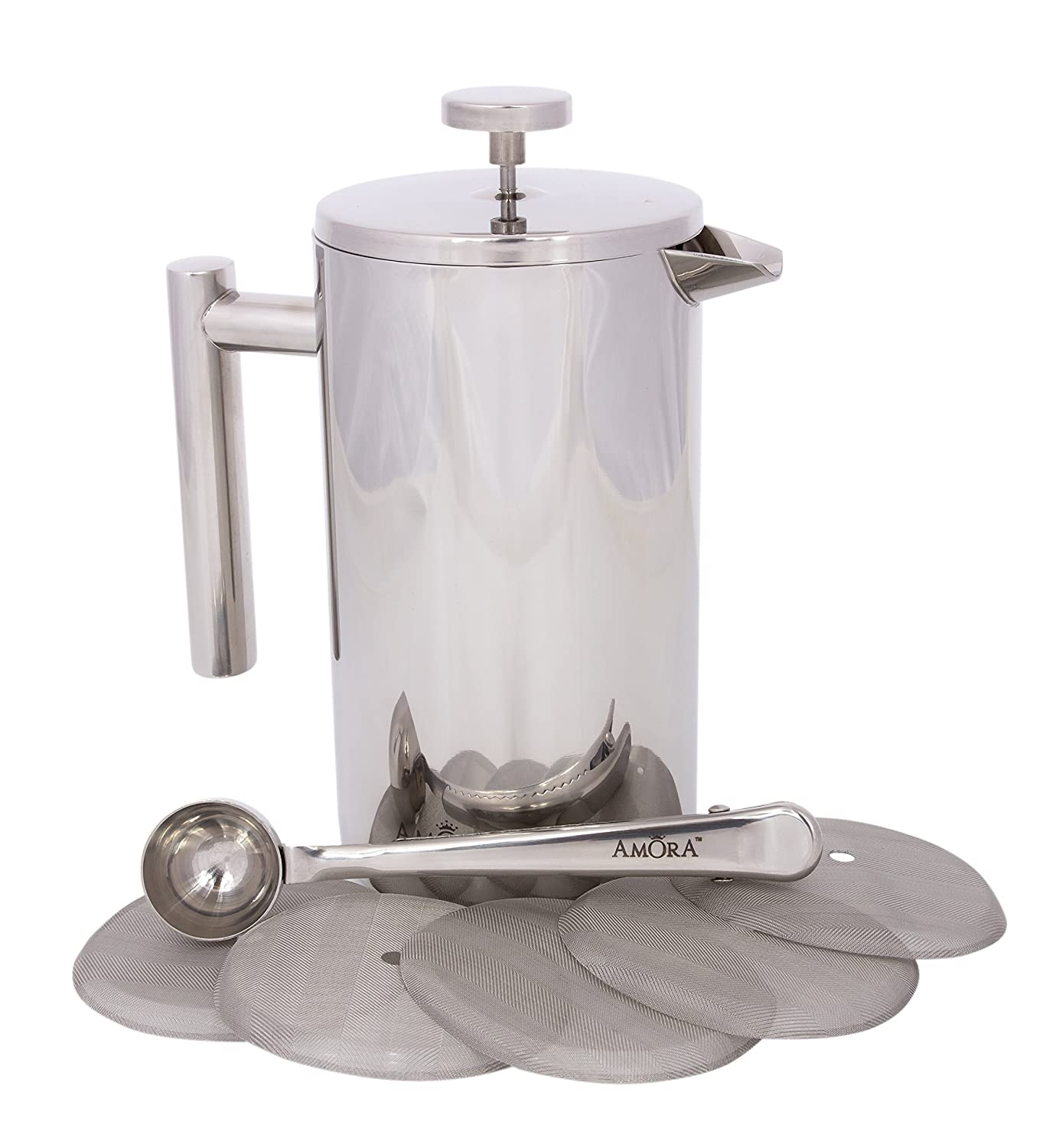 Amora 8-cup Stainless Steel French Press Coffee Maker - FREE Coffee Spoon & 5 Mesh Filters COMINHKPR128895