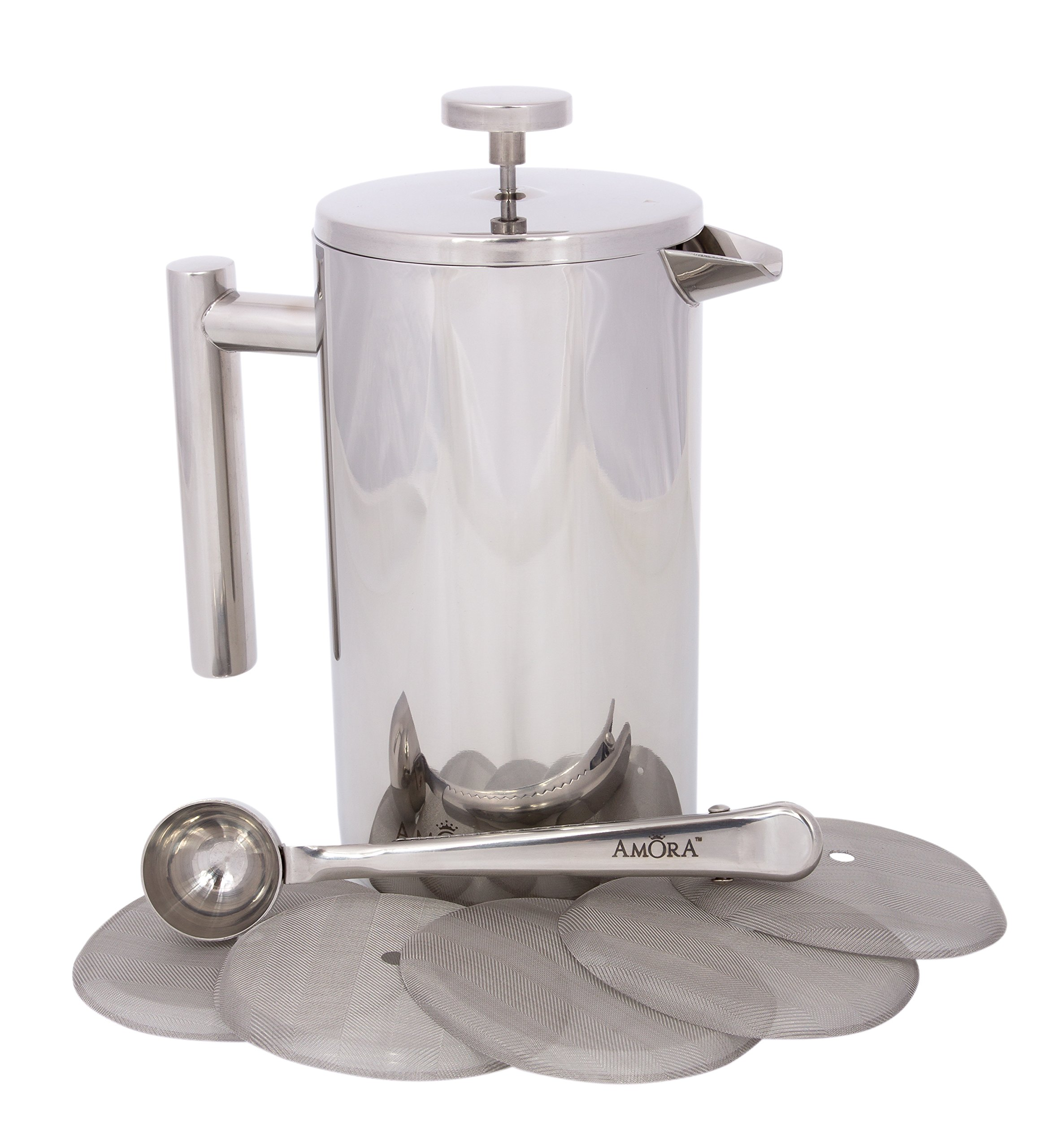 Amora 8-cup Stainless Steel French Press Coffee Maker - FREE Coffee Spoon & 5 Mesh Filters by Amora French Press Coffee Maker