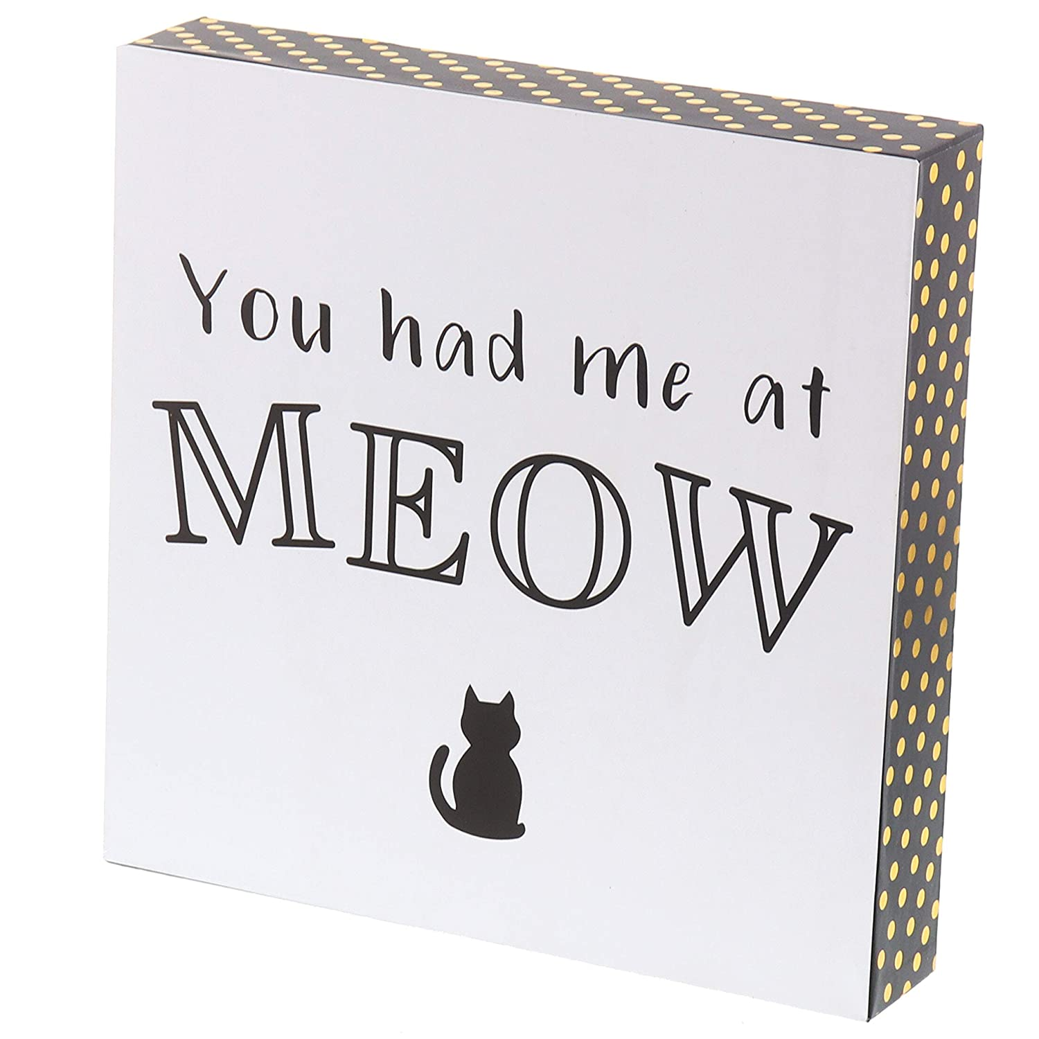 """Barnyard Designs You Had Me at Meow Cat Box Sign Decorative Wood Funny Quote Wall Decor 8"""" x 8"""""""