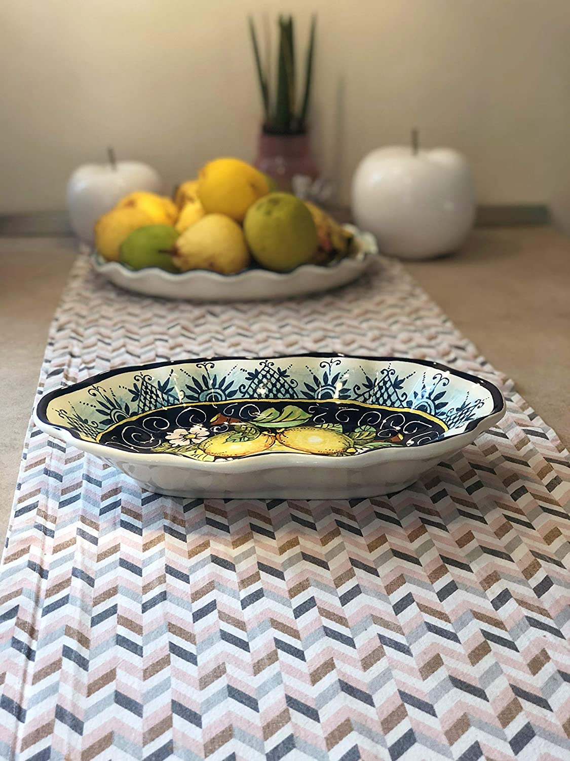 CERAMICHE D'ARTE PARRINI - Italian Ceramic Art Pottery Serving Bowl Centerpieces Tray Plate Hand Painted Decorative Lemons Made in ITALY Tuscan