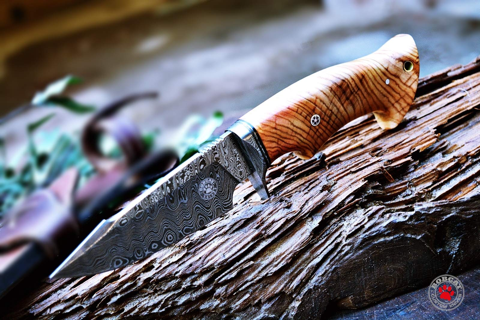 Custom Handmade Hunting Knife Bowie Knife Damascus Steel Survival Knife EDC 10'' Overall Olive Wood with Sheath by Bobcat Knives (Image #6)