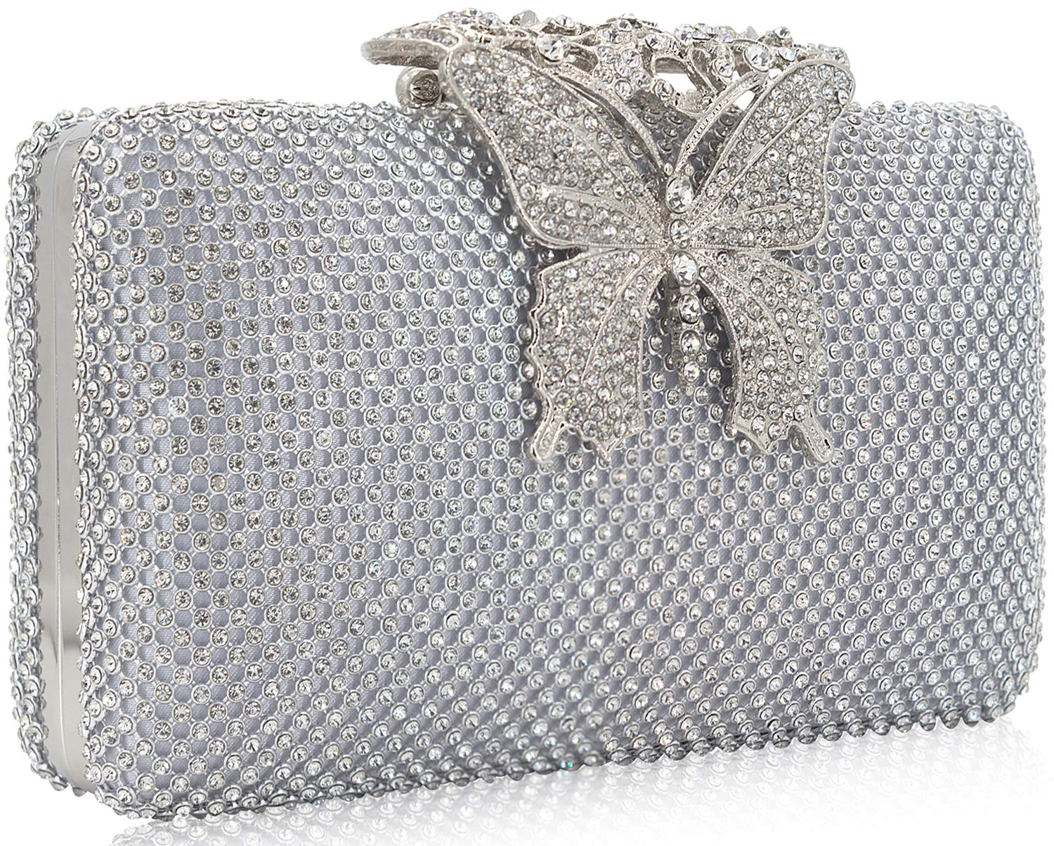 Dexmay Rhinestone Crystal Clutch Purse Butterfly Clasp Women Evening Bag for Formal Party Silver by DEXMAY DM (Image #2)