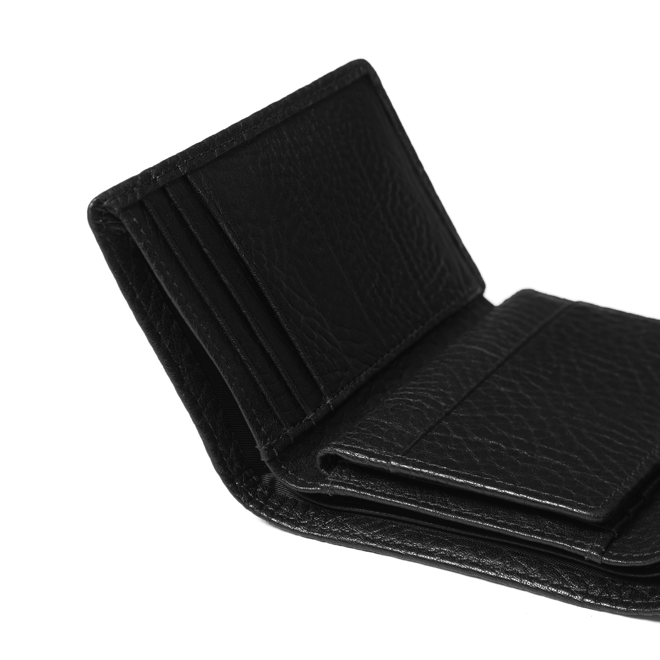 Trifold with Card Wallet - Full Grain Italian Leather Leather - Ebony (black) by Leatherology (Image #4)