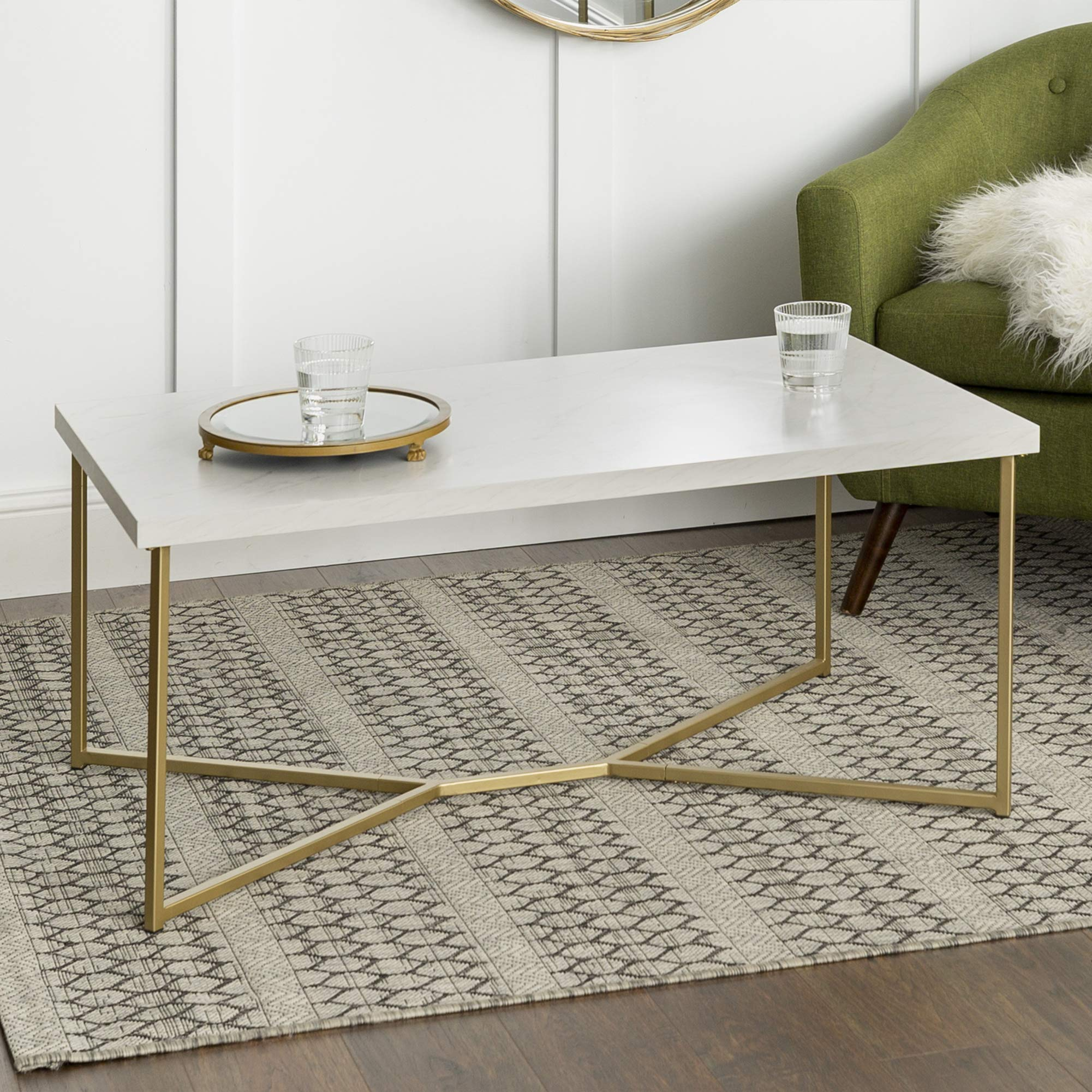 WE Furniture AZF42LUXWMG Mid Century Modern Rectangle Coffee Table, 42 Inch, White Marble, Gold by WE Furniture