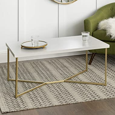 WE Furniture Mid Century Modern Rectangle Coffee Table, 42 Inch, White Marble, Gold