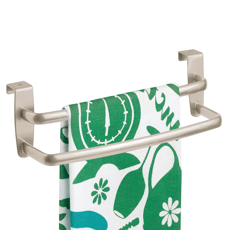 mDesign Porta asciugamani cucina – Porta strofinacci doppio da appendere alle ante dei mobili – Appendi strofinacci in metallo per bagno o cucina senza forare il muro – Argento opaco MetroDecor