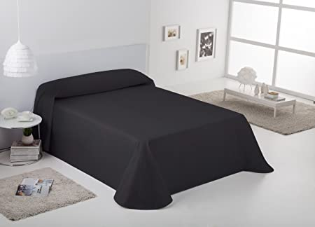 ESTELA - Colcha/Cubrecama RÚSTICO Lisos Color Negro - Cama de 135/140 cm. - Hilo Tintado - 50% Algodón/50% Poliéster: Amazon.es: Hogar