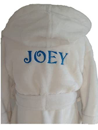 kids dressing gown personalised (2-3 years, White - without dots ...